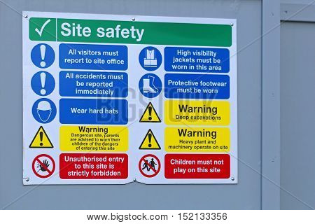 Construction Site Mandatory Safety Information Board at Fence