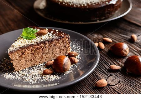 Chestnut Cake With Almonds And Chocolate