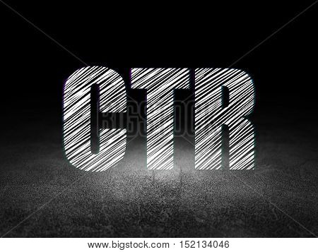 Finance concept: Glowing text CTR in grunge dark room with Dirty Floor, black background
