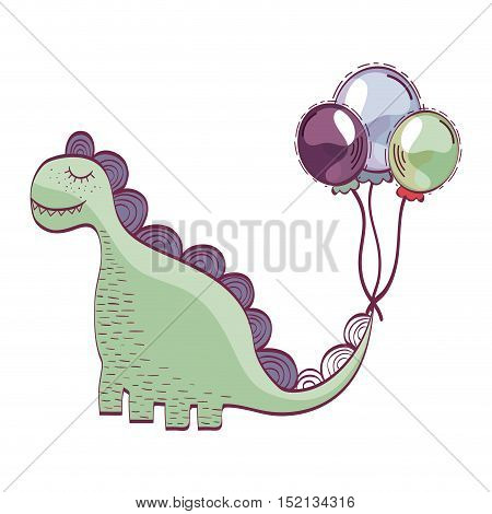 green dino animal toy with balloons over white background. drawn design. vector illustration