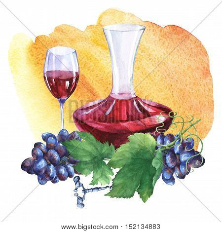 Arrangement with bunch of fresh grapes, corkscrews, decanter and glasses of red wine. Hand drawn watercolor painting on yellow and orange watercolor background.