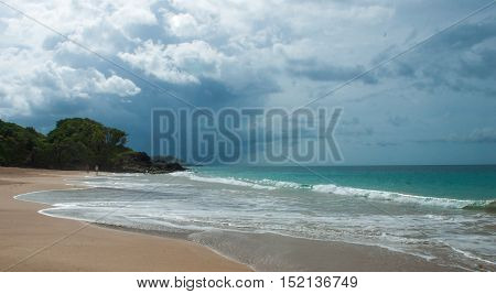 Sandy beach in Guadeloupe Island of French Caribbean