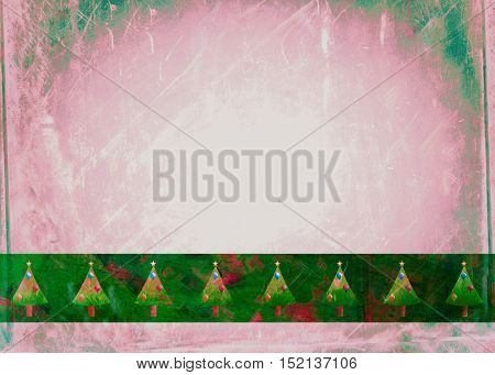 A grunge style Christmas tree background page designed with hand painted watercolour effects.
