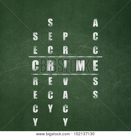 Protection concept: Painted White word Crime in solving Crossword Puzzle on School board background, School Board