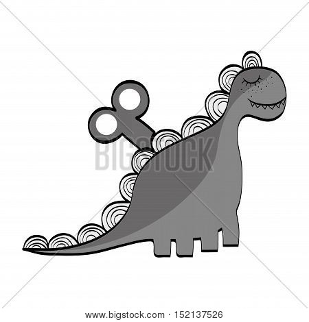 dino animal toy over white background. drawn design. vector illustration