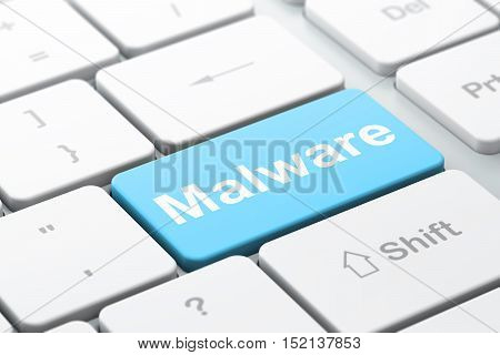 Protection concept: computer keyboard with word Malware, selected focus on enter button background, 3D rendering