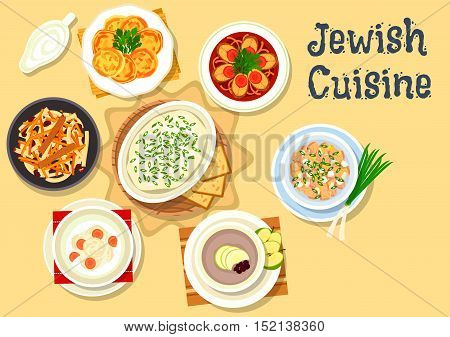 Jewish cuisine kosher dishes icon with jellied pike fish, herring forshmak, fish ball soup, egg salad with chicken giblets, fish cutlet with cheese, bread apple soup, carrot dessert with raisins