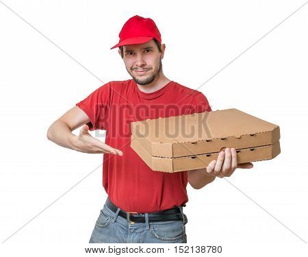 Pizza Delivery Concept. Young Smiling Boy Holds Boxes With Pizza