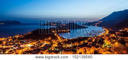 Kas city in evening time. Turkey, Asia