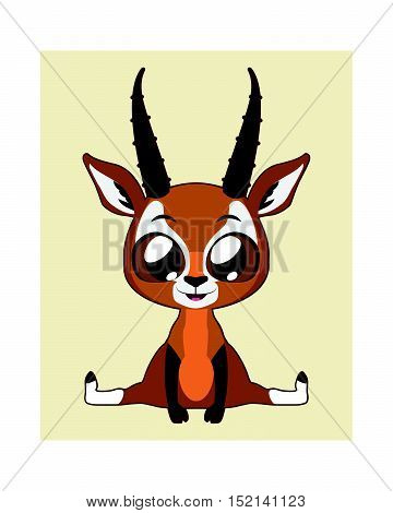 Cute antelope illustration art in flat color