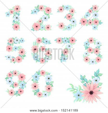 Vector Floral Numbers and Little Bouquet in Shabby Chic Style