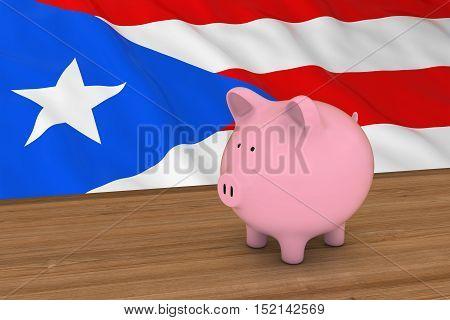 Puerto Rico Finance Concept - Piggybank In Front Of Puerto Rican Flag 3D Illustration