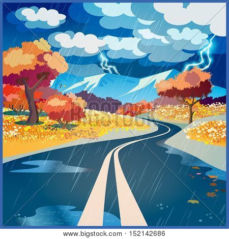 Stylized vector illustration on the theme of road adventure and Journey. Autumn rainy road through the fields to the mountains