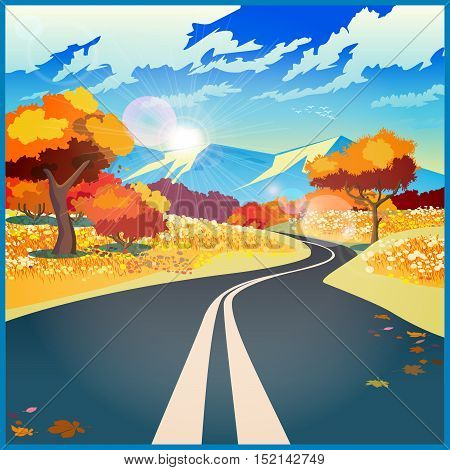 Stylized vector illustration on the theme of road adventure and Journey. Autumn road through the fields to the mountains