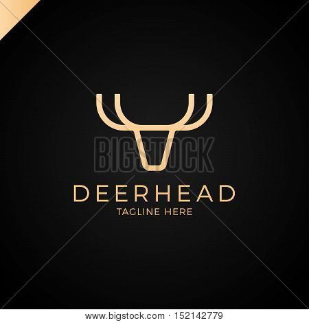The Line Logo Is Minimalist In The Form Of A Deer Head With Antlers