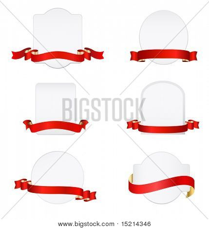 red banners with blank tags set