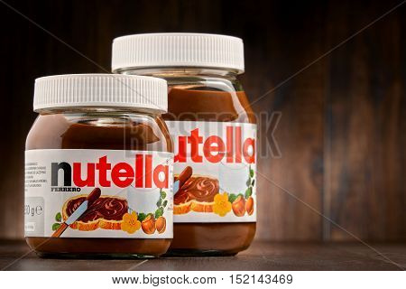 POZNAN POLAND - OCT 11 2016: Introduced to the market in 1964 by Italian company Ferrero Nutella is widely popular brand name of a sweetened hazelnut cocoa spread