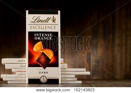 POZNAN POLAND - OCT 11 2016: Founded in 1845 Lindt & Spruengli AG is a Swiss chocolatier and confectionery company known for their chocolate bars and other sweets