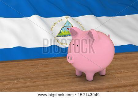 Nicaragua Finance Concept - Piggybank In Front Of Nicaraguan Flag 3D Illustration