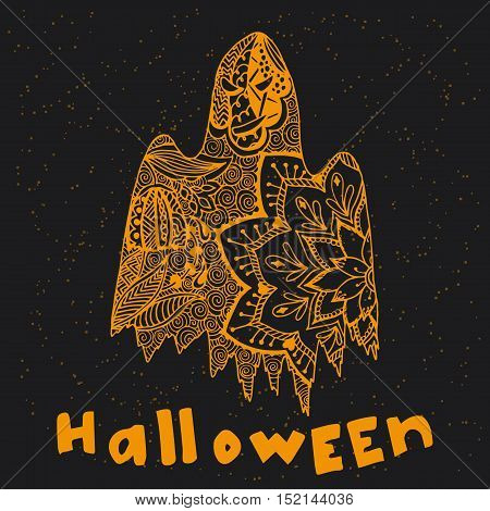 Hand drawn ghost in doodle style. Vector illustration