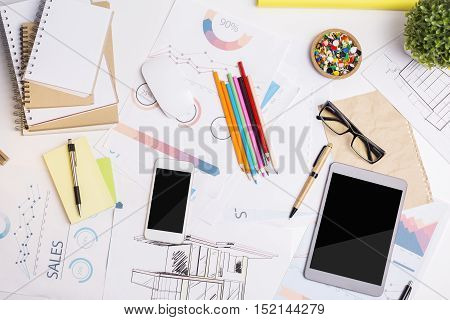 Office Workplace With Electronic Devices