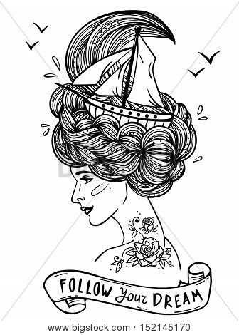 Page with print for the adult coloring book. Hand drawn artwork of a dreaming young beautiful woman with ship in waves of curly swirly sea-like hair and rose tattoo on her neck and shoulder. Tattoo portrait; zentangle; fashion; marine; postcard; vintage r