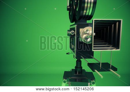 Front view of retro movie projector on green background with copy space. 3D Rendering. Cinema concept