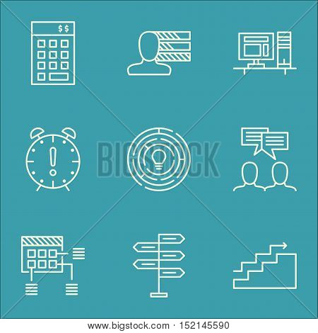 Set Of Project Management Icons On Schedule, Discussion And Innovation Topics. Editable Vector Illus