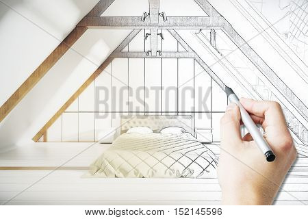 Male hand drawing loft bedroom project with furniture. 3D Rendering