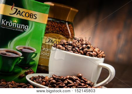POZNAN POLAND - OCT 12 2016: Jacobs is a brand of coffee marketed in Europe by Jacobs Douwe Egberts headquartered in Amsterdam Netherlands