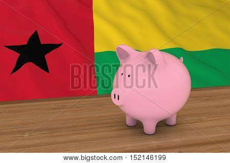 Guinea-bissau Finance Concept - Piggybank In Front Of Bissau-guinean Flag 3D Illustration