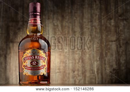 POZNAN POLAND - OCT 11 2016: Blended from whiskies matured for at least 12 years Chivas Regal 12 is a blended Scotch whisky produced by Chivas Brothers in Keith Scotland