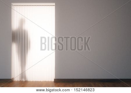 Leaning man silhouette behind curtains in modern unfurnished interior. 3D Rendering