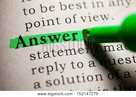 Fake Dictionary definition of the word answer.