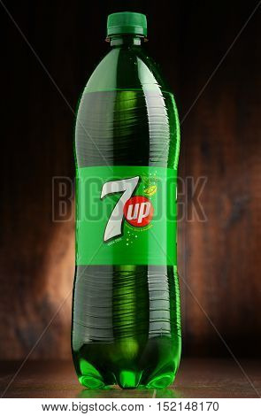 POZNAN POLAND - OCT 13 2016: 7 Up is a brand of carbonated soft drink manufactured by Dr Pepper Snapple Group in the US and PepsiCo in the rest of the world.