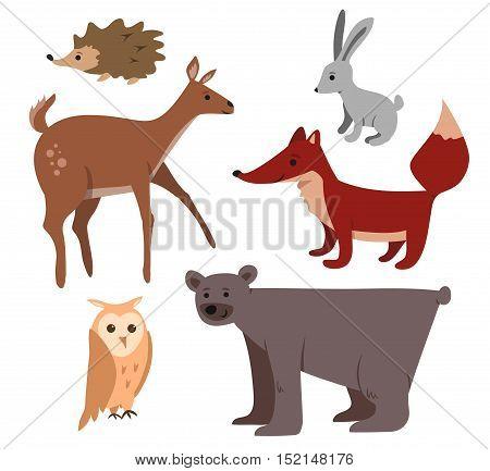 Cute cartoon forest animals set: bear deer fox owl rabbit hedgehog.
