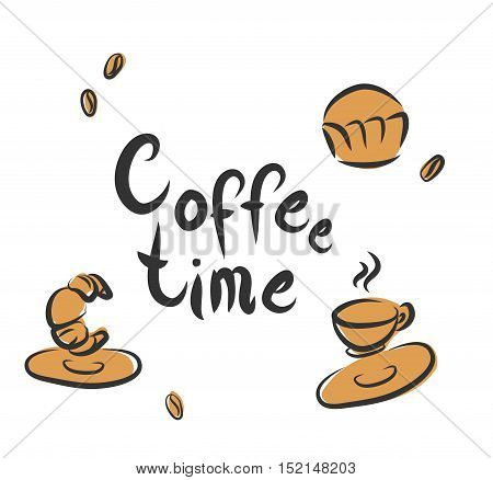 """Coffee time"" retro poster with bakery and coffee."