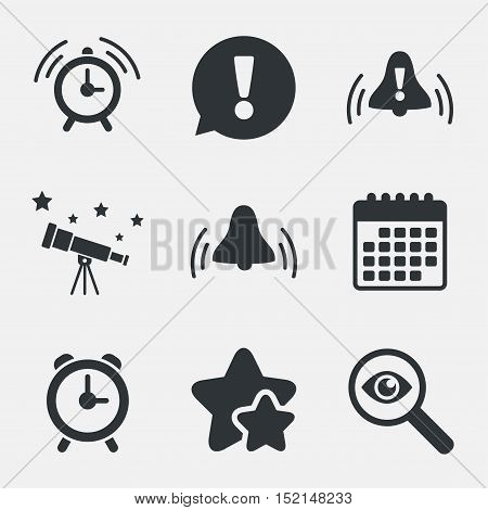 Alarm clock icons. Wake up bell signs symbols. Exclamation mark. Attention, investigate and stars icons. Telescope and calendar signs. Vector