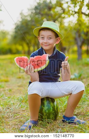 cute little boy width watermelon sitting on grass outdoor.
