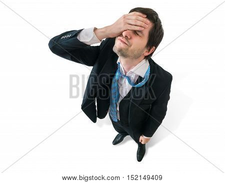 Businessman Has Headache. Disappointment And Failure Concept. Is