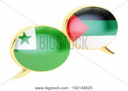 Speech bubbles Esperanto-Arab conversation concept. 3D rendering isolated on white background