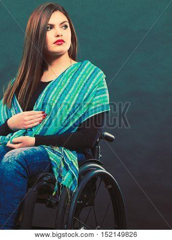Girl On Wheelchair.