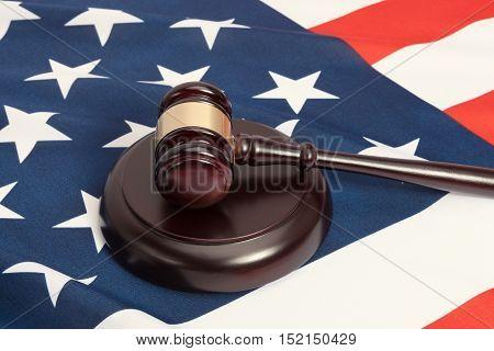 Judge Gavel And Soundboard Laying Over Usa Flag