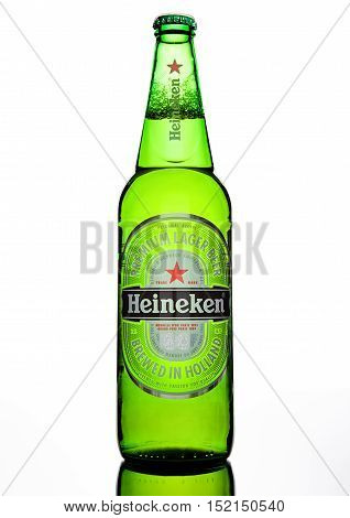 LONDON, UK -OCTOBER 17 2016: Bottle of Heineken Lager Beer on white background. Heineken is the flagship product of Heineken International