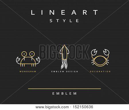Marine life set emblem in linear style. Seafood Elegant emblem design illustration. Marine life icon, Seafood logo decorations design element
