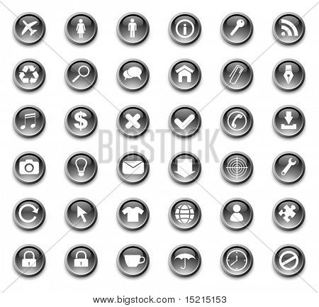 web buttons with icons -set vector