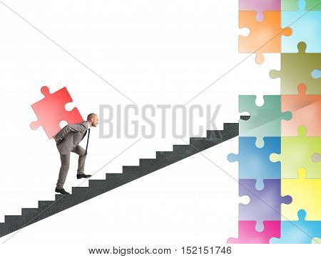 Missing piece of puzzle of a businessman that builds a new company