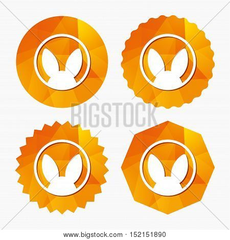 No animals testing sign icon. Not tested symbol. Triangular low poly buttons with flat icon. Vector