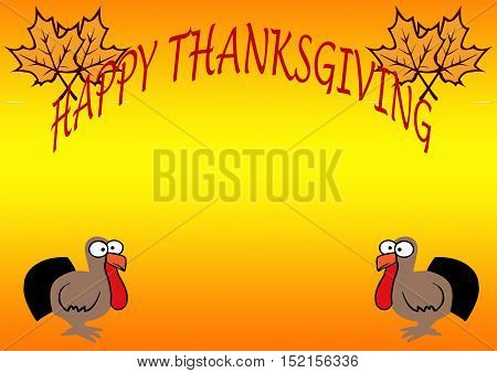 Happy Thanksgiving with Cartoon Turkeys on an orange and yellow background.
