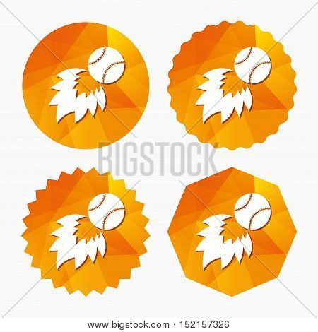 Baseball fireball sign icon. Sport symbol. Triangular low poly buttons with flat icon. Vector